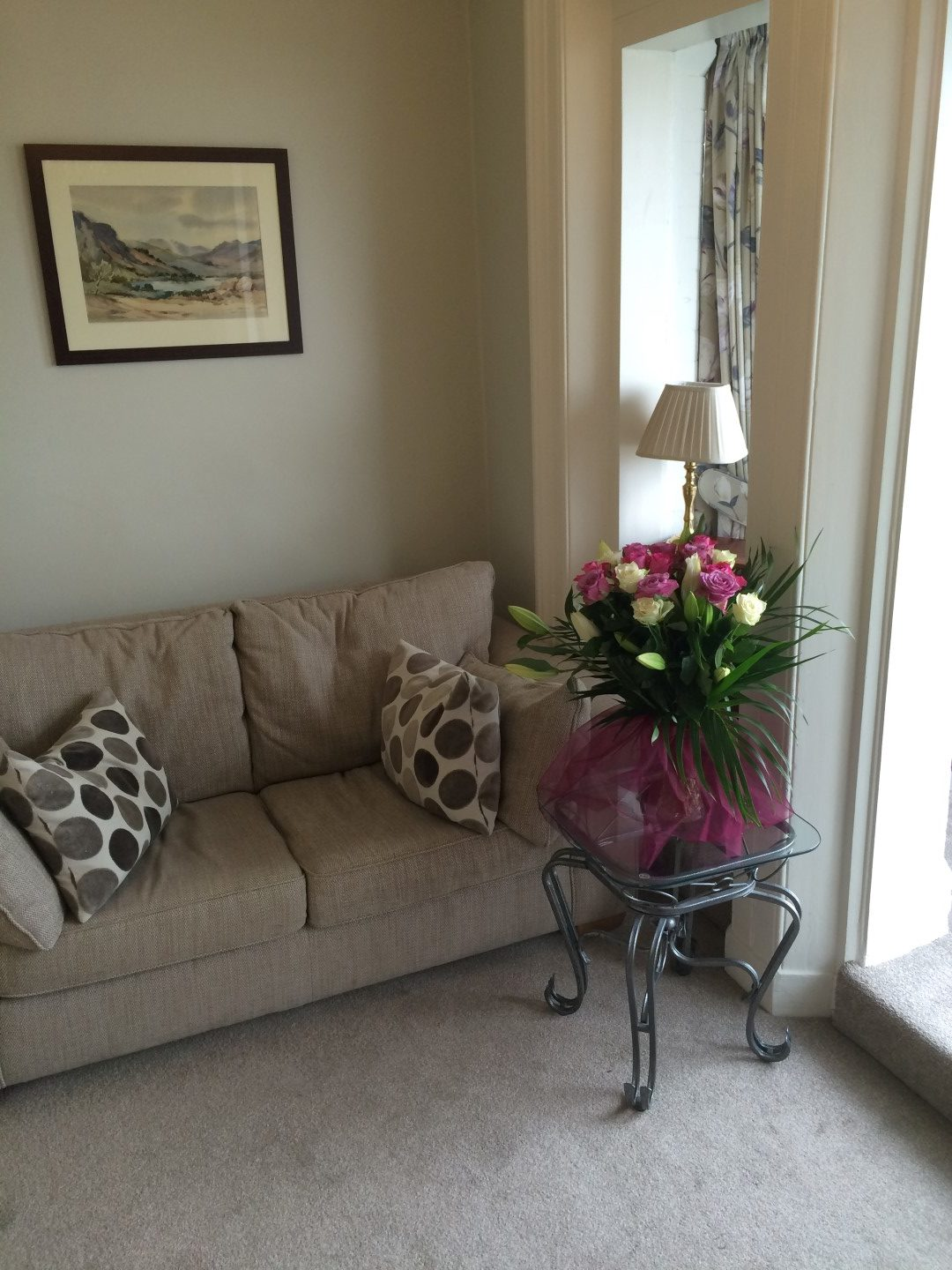 Wedding photo at Gleneagles Guesthouse with flowers